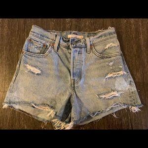 Levi's 501 wedgie distressed denim shorts